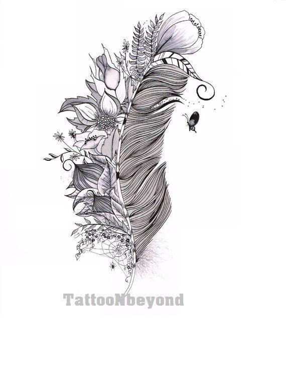 Temporary Tattoo  4 types of Feathers Tattoos / Tattoo Flash | Etsy