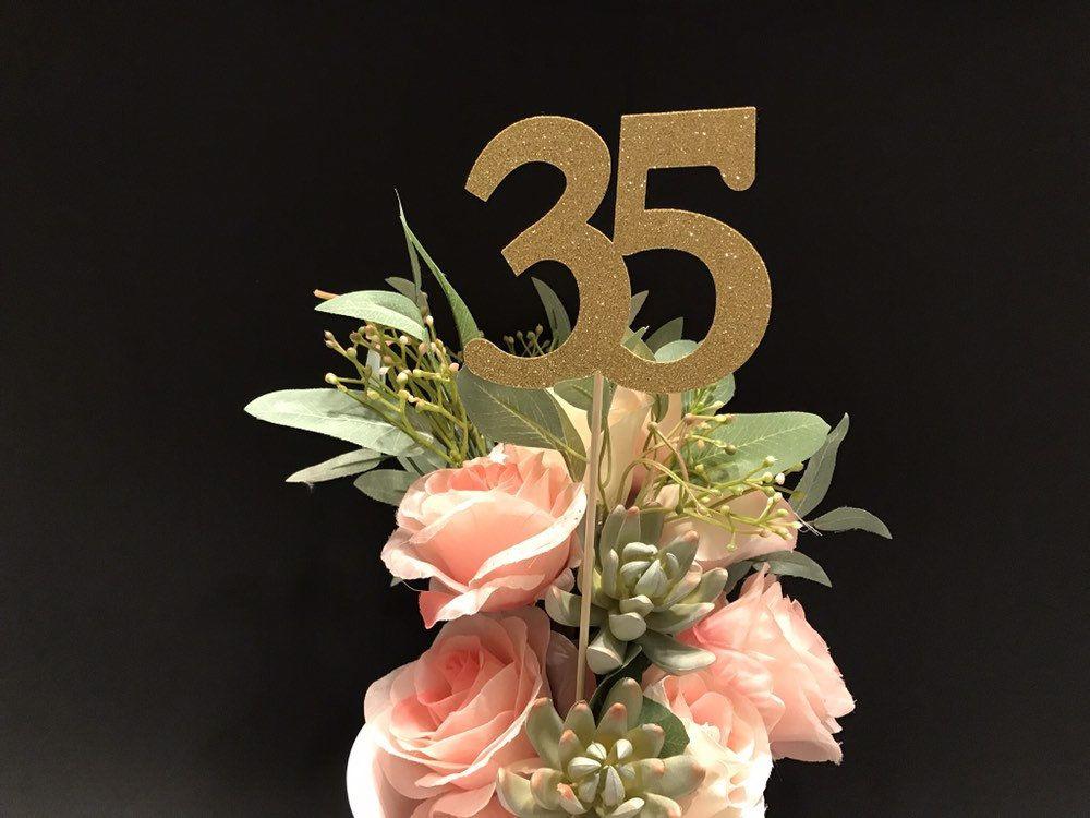 35th birthday decoration 35th birthday centerpiece sticks
