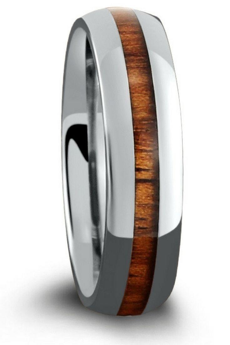 Skinny Titanium Koa Wood Ring 6mm Titanium ring and Weddings
