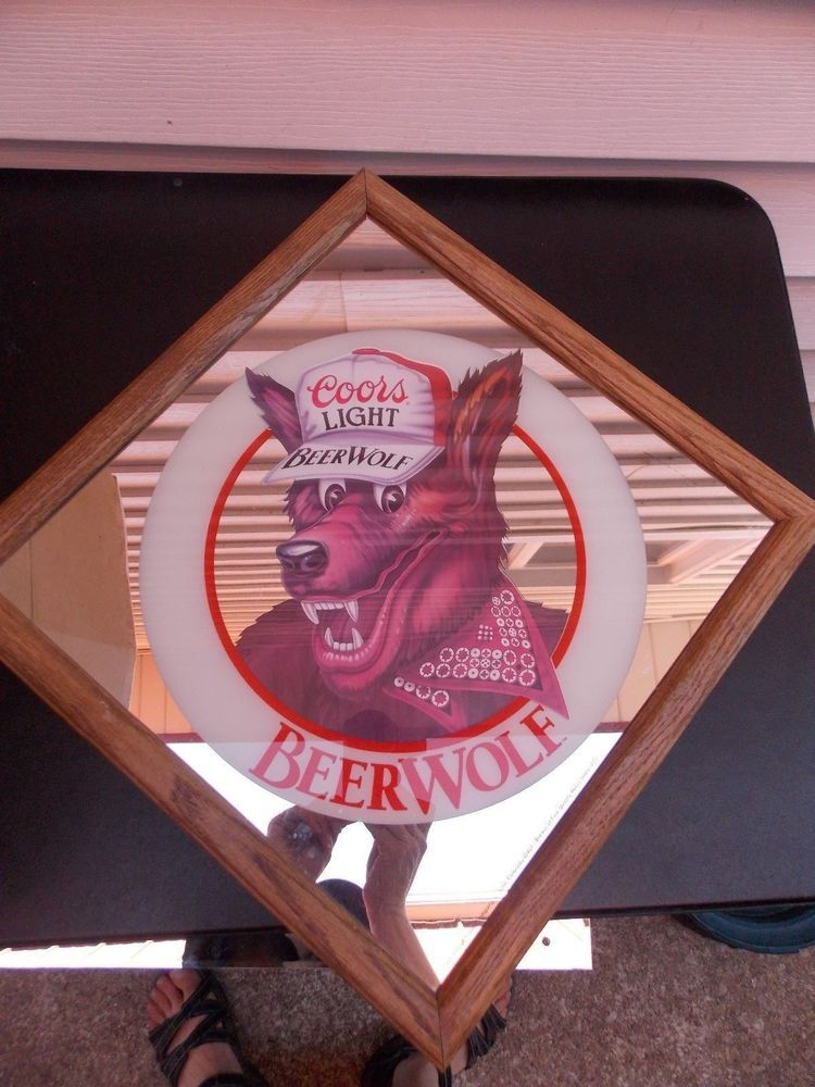 Vintage 1986 Coors Light Beer Wolf Beerwolf Beer Wall Mirror Bar Beer Wall Bar Mirror Coors Light