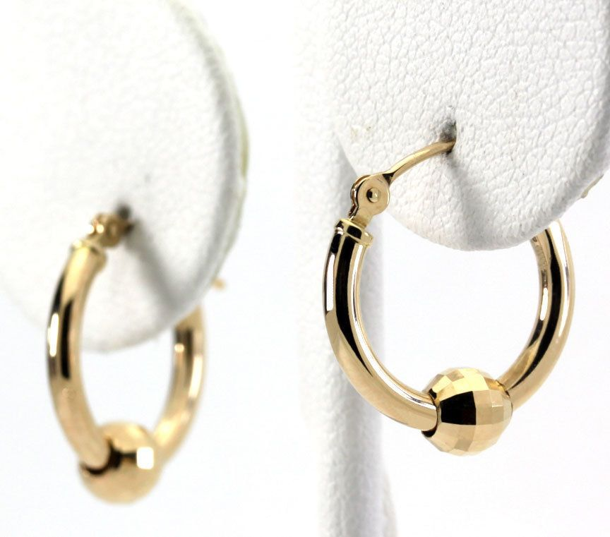 Multi Faceted Disco Ball Bead Hoop Earrings in 14K Yellow Gold