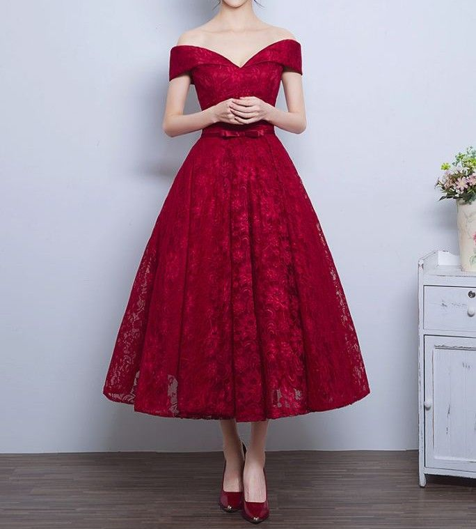 Red Off The Shoulder Party Dresstea Length Lace Homecoming Dress