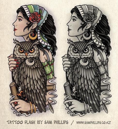 art, design, gypsy, illustration, old school, owl, sam phillips, tattoo, woman
