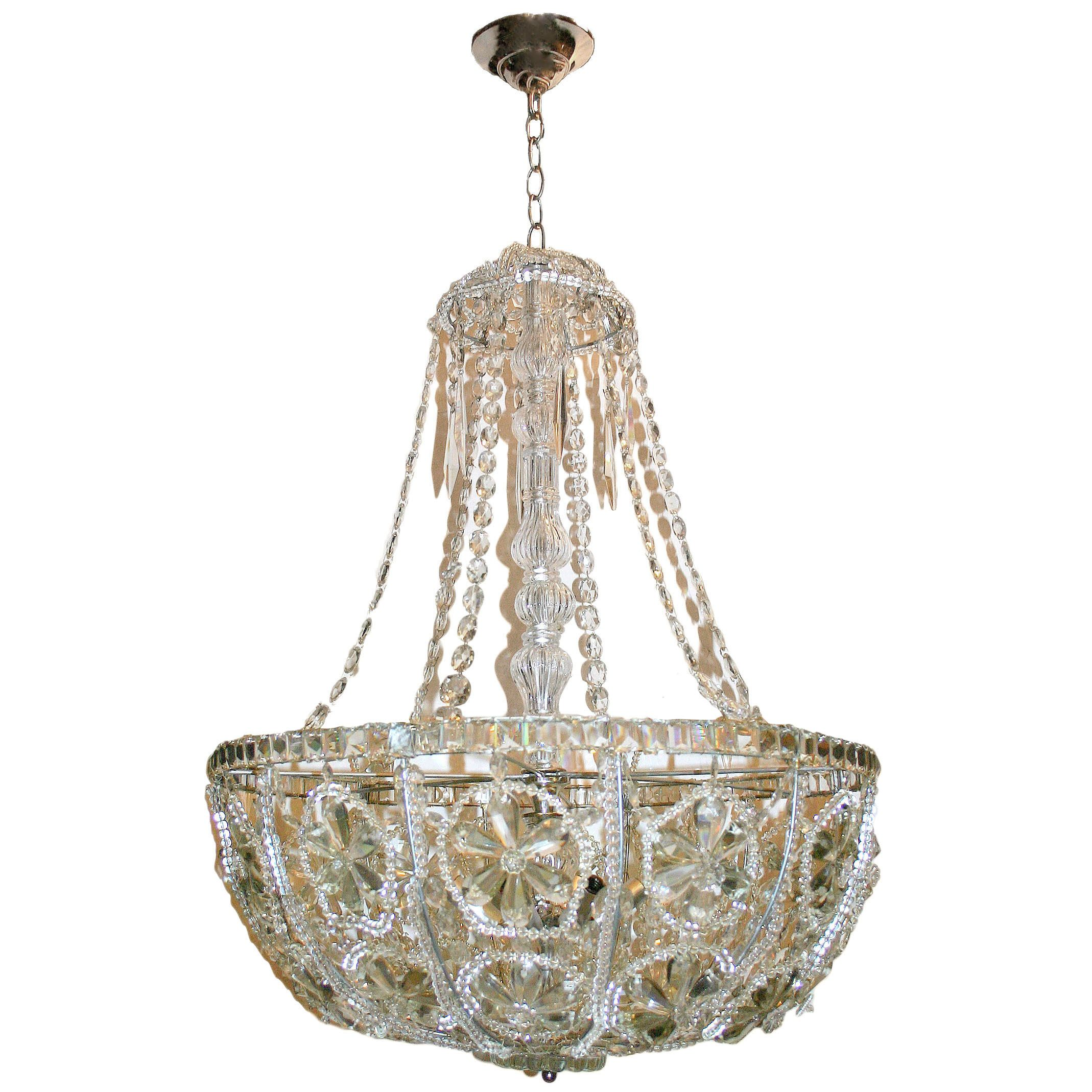 A Circa 1940 S French Beaded Crystals Light Fixture Chandelier With Basket Shaped Crystal Flowers And Beads 12 Interior Lights