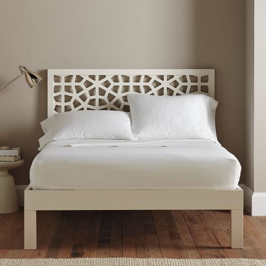 Tall Wood Bed Frame, Cal King, White Lacquer | Room Inspiration ...