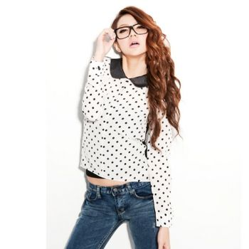 Negro único punto de pecho camisa transparente solapa Volver manga larga  para las mujeres para Vender - La Tienda En Online IGOGO.ES bda7d17f446a