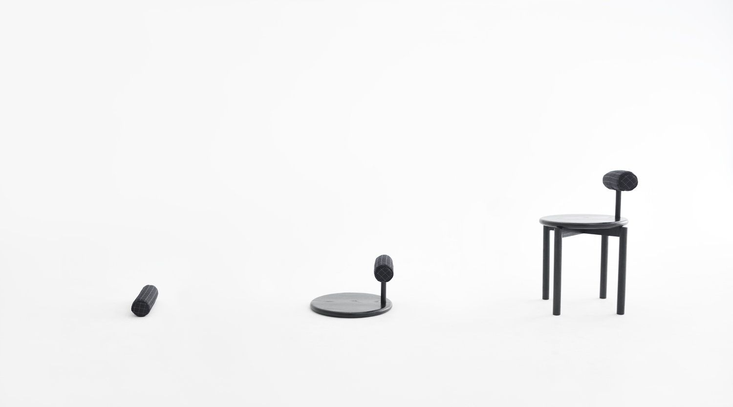 The 'Wa' series consists of a pillow, a legless chair and a chair.