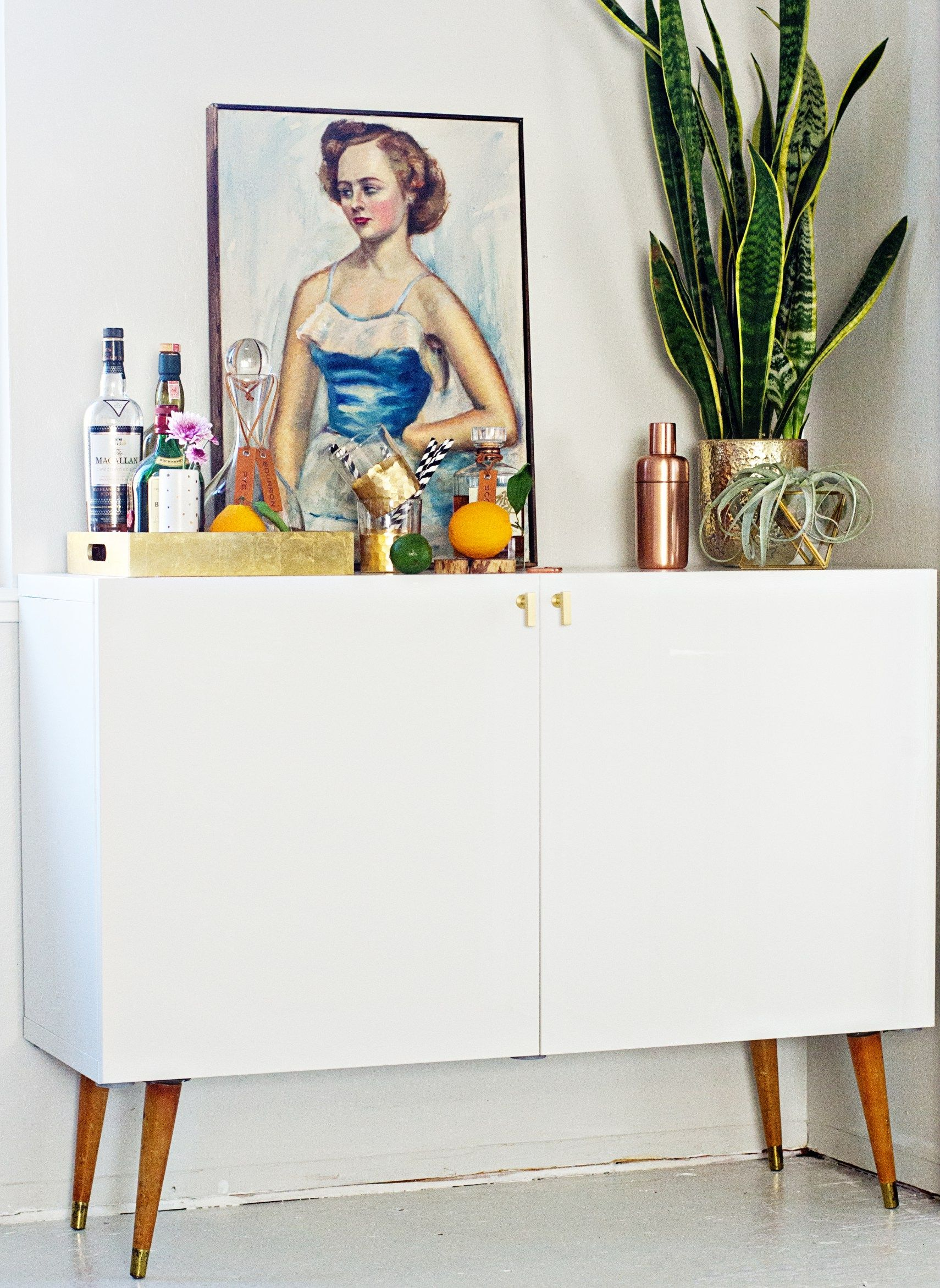 Ikea Hack Mid Century Bar Cabinet Brittanymakes Eclectic  # Bar Tele Roulettes