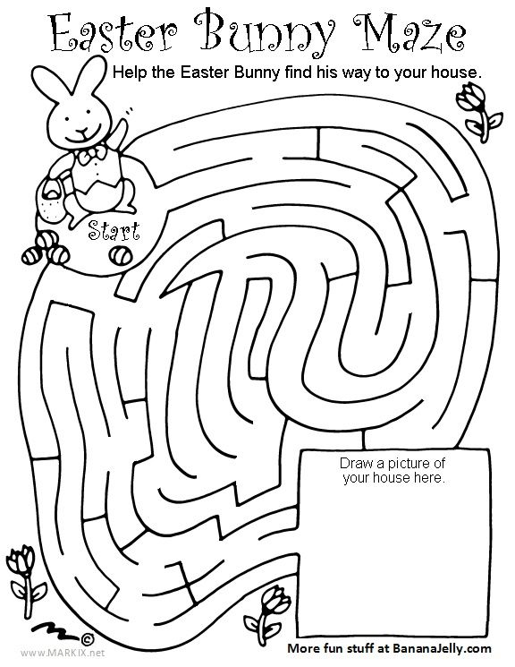 Bunny Maze Coloring Pages Design