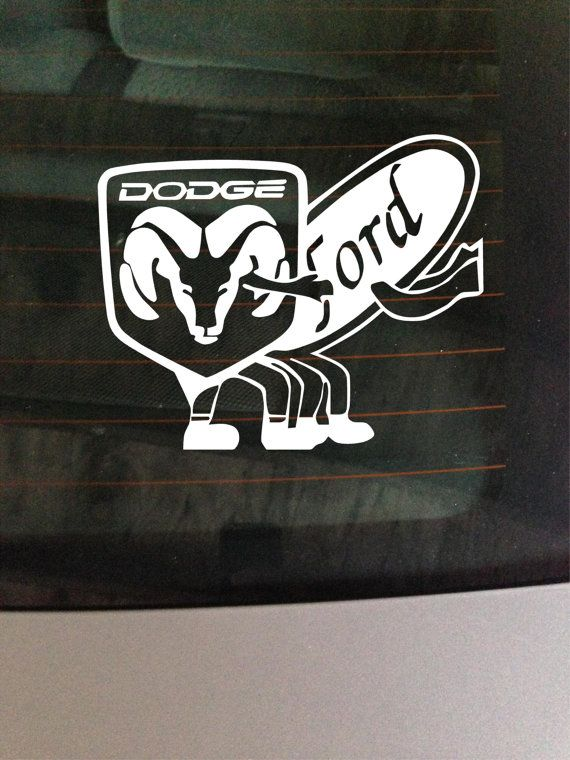 Funny Dodge And Ford Vinyl Window Decal By Greenmountainvinyl 6 00 Vinyl Window Decals Window Decals Funny Stickers