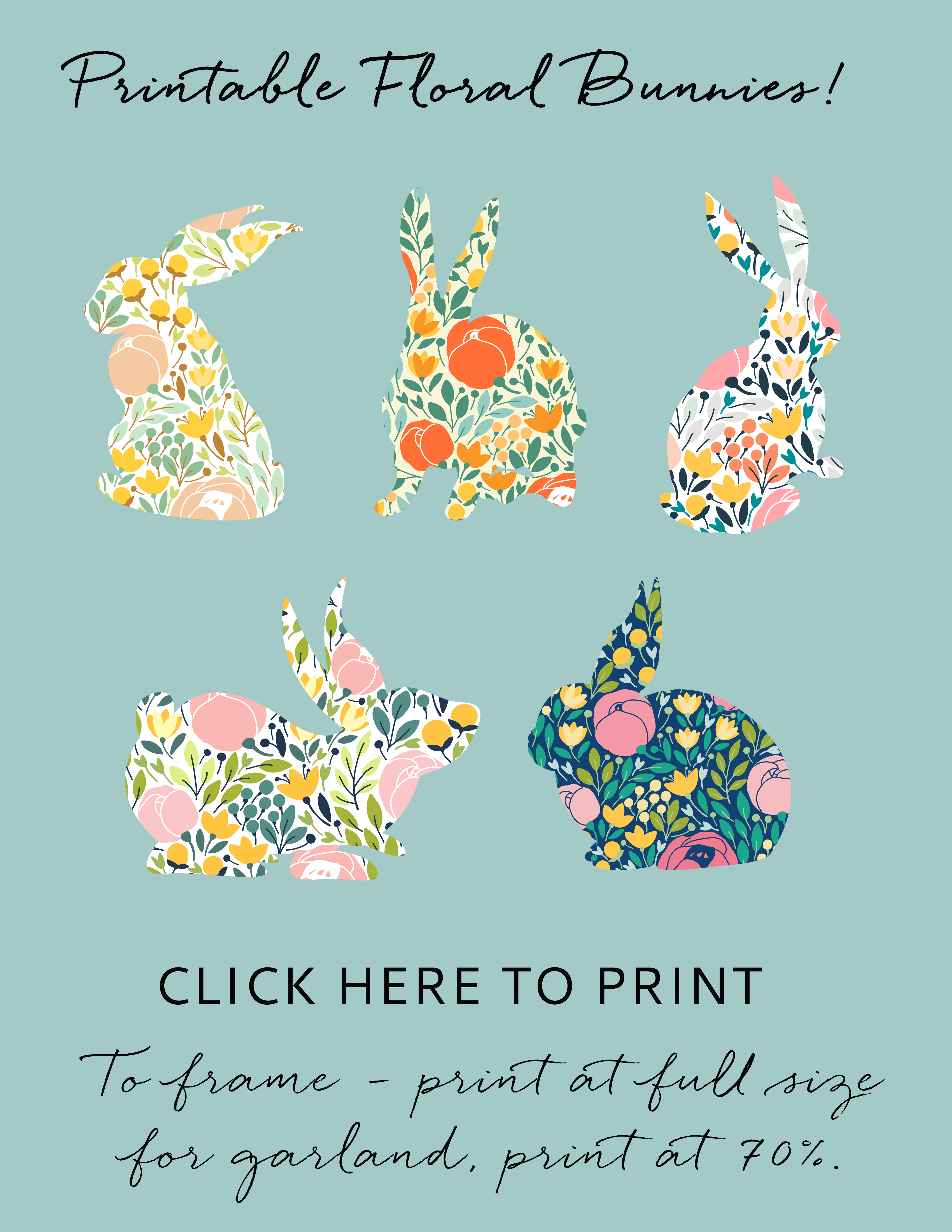 Floral Bunny Easter Garland