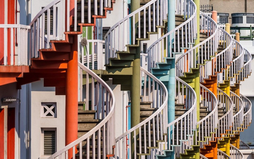 Best Colorful Array Of Spiral Staircases In A Random Back Alley 400 x 300