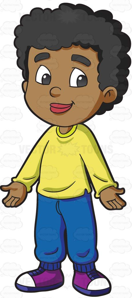 A Black Male Primary School Student With Curly Hair Clipart Black And White Free Clip Art Primary School