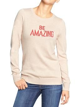 Women s Printed Crew-Neck Sweaters  0206f9f65a