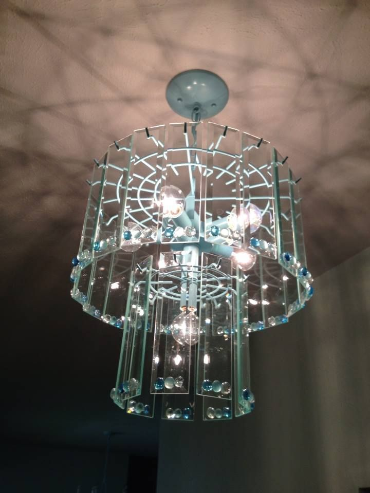 Rummage Brass Chandelier Painted Spray Ocean Blue And Add Marble Gems To The Glass