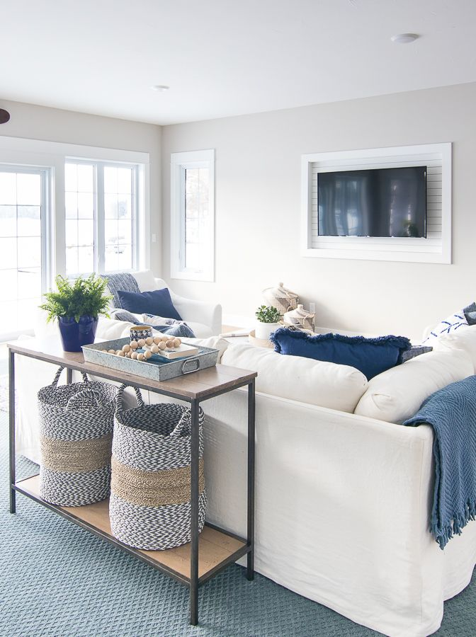 Photo of Lake House family room blue and white decor