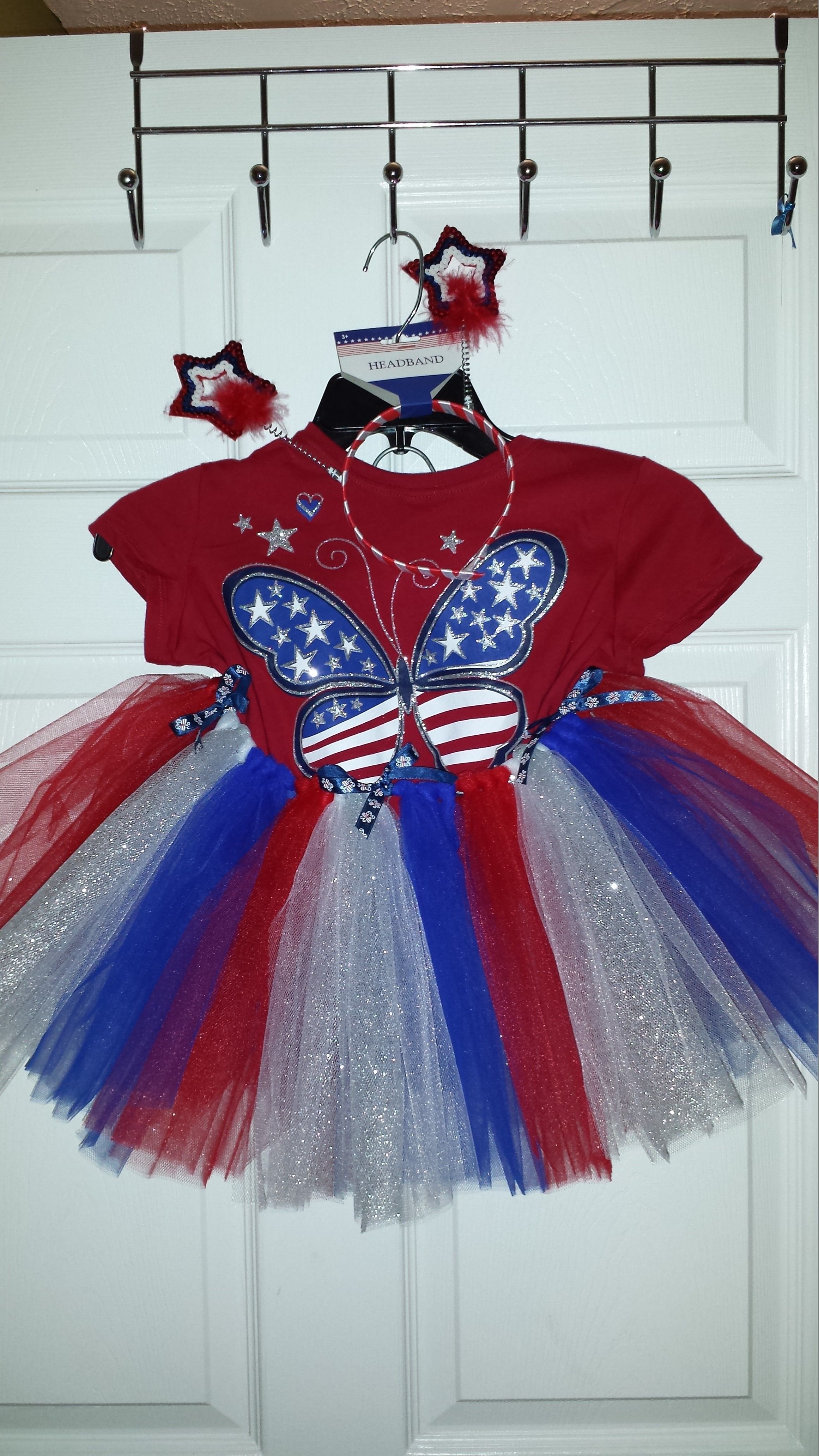 4th Of July Outfit With Homemade Tutu Shirt From The Childrens Place And Headband Store