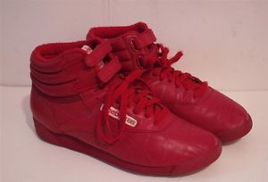 24e543e84d1803 REEBOK Freestyle Hi High Top Red Leather Vintage 80s Sneakers Shoes ...