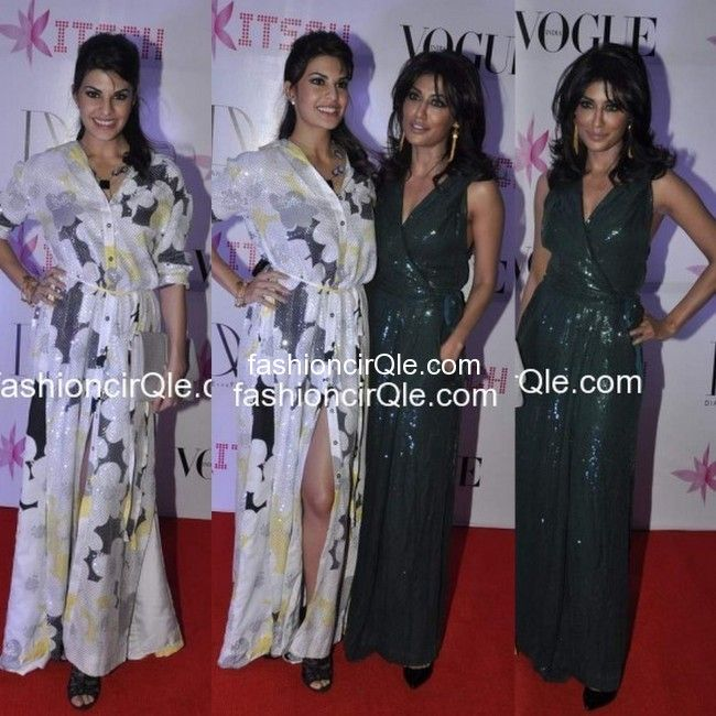 In DvF : Jacqueline Fernandes or Chitrangada Singh. Jacqueline and Chitrangada Singh also attended the bash thrown in honor of Diane Von Furstenberg.    Both the actress opted for DvF.    Jacky opted for a while floral sequined full  length shift dress. And Chitrangada wore an emerald green DvF jumpsuit.I don't like Jacky's look at all. From the dress, to the black shoes, nothing works for me. Chitrangada, on the other hand, looked good in her jumpsuit. My vote goes to Ms. Singh. Yours?