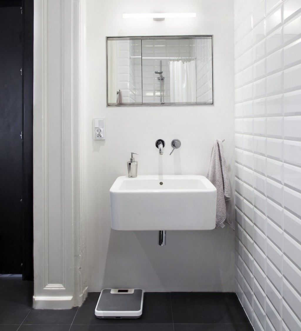 Charcoal Tile Bathroom: Scandinavian Compact Bathroom Design With White Floating