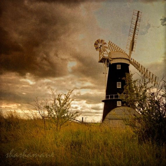 Photography print, rustic windmill in Norfolk  shashaman