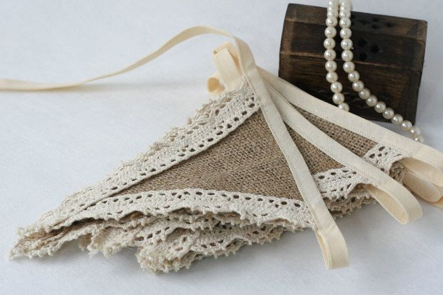 Rustic Hessian & Lace Bunting. This vintage style bunting is perfect for a rustic wedding or Shabby Chic Inspired Wedding. It can be added as a finishing touch to a vintage themed venue, pinned on top tables or used as a backdrop for photographs.