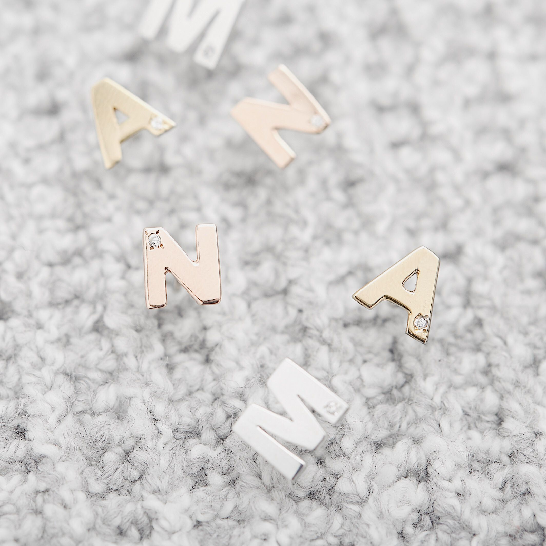 d52d57f08 Spell out your unique style with our personalized gold diamond initial stud  earrings. These gold