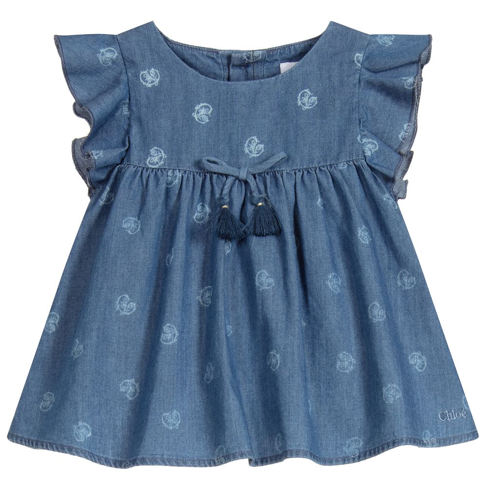Girls Blue Cotton Chambray Top in 4  Designer baby clothes