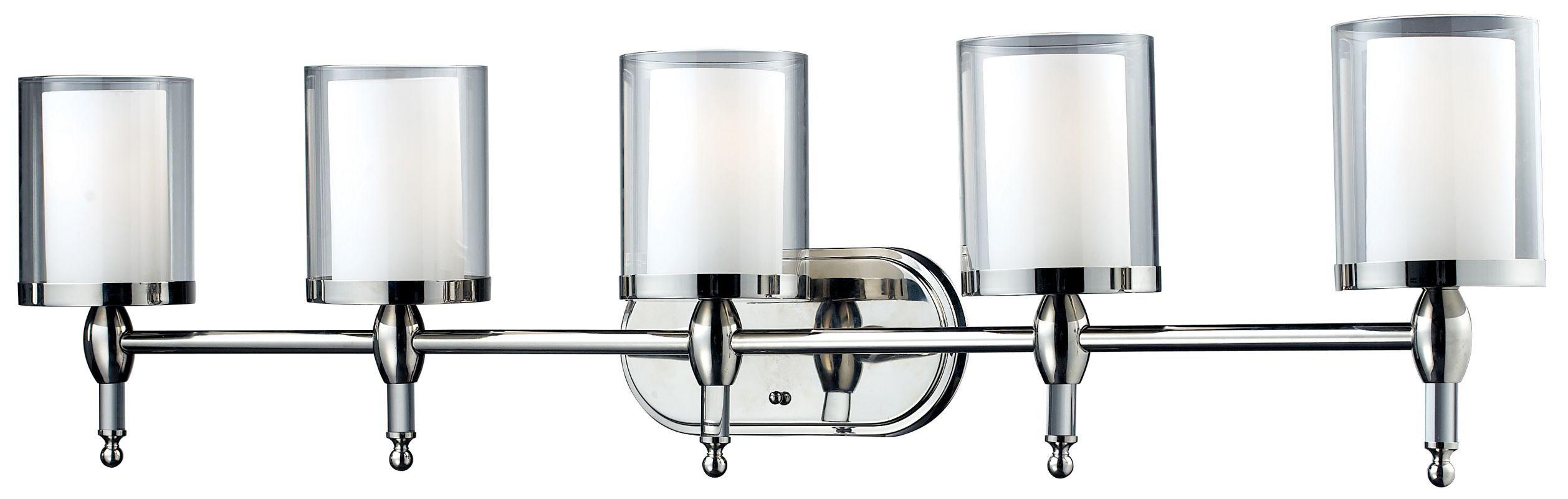 Z-Lite 1908-5V Argenta 5 Light Bathroom Vanity Light with Matte Opal Glass Shade Chrome Indoor Lighting Bathroom Fixtures Vanity Light