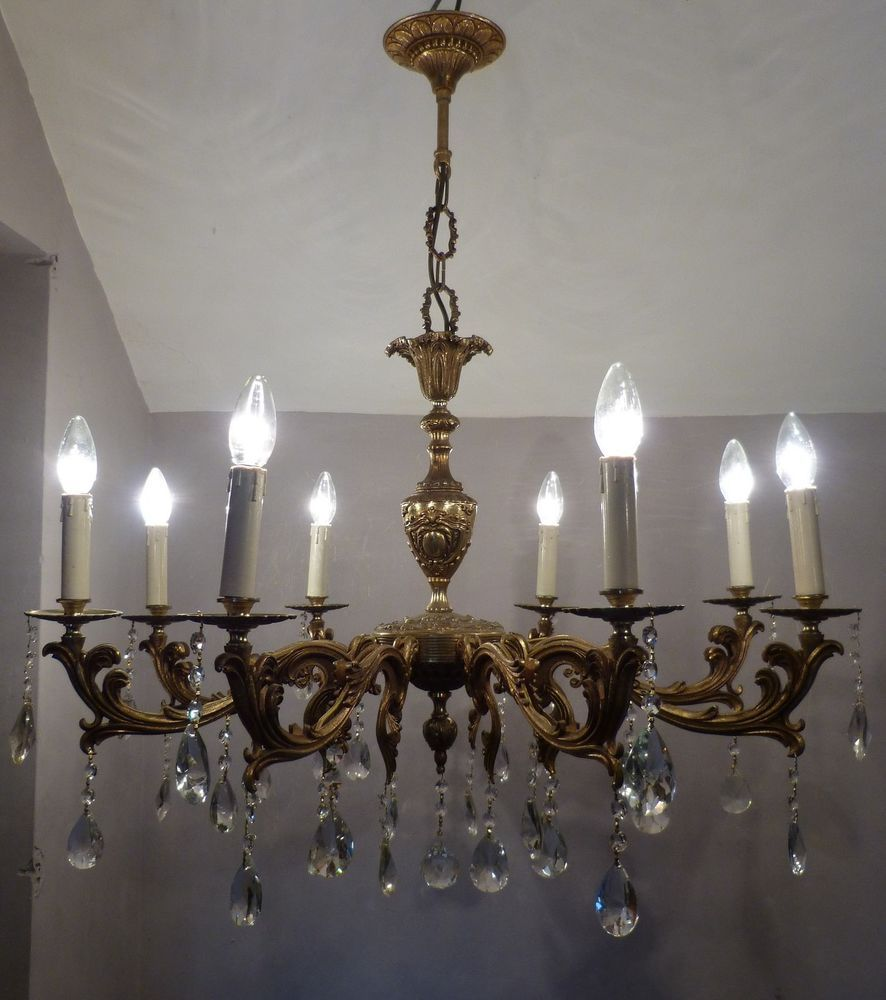 Large vintage french 8 arm bright brass crystal chandelier 92cm high large vintage french 8 arm bright brass crystal chandelier 92cm high x 81cm wide arubaitofo Image collections