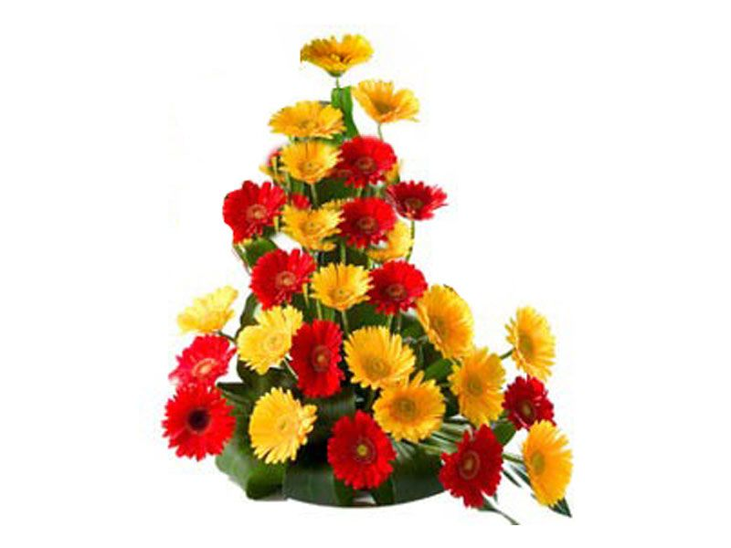 Basket Of 20 Mix Gerbera To India Funeral Flower Arrangements Beautiful Bouquet Of Flowers Flower Delivery