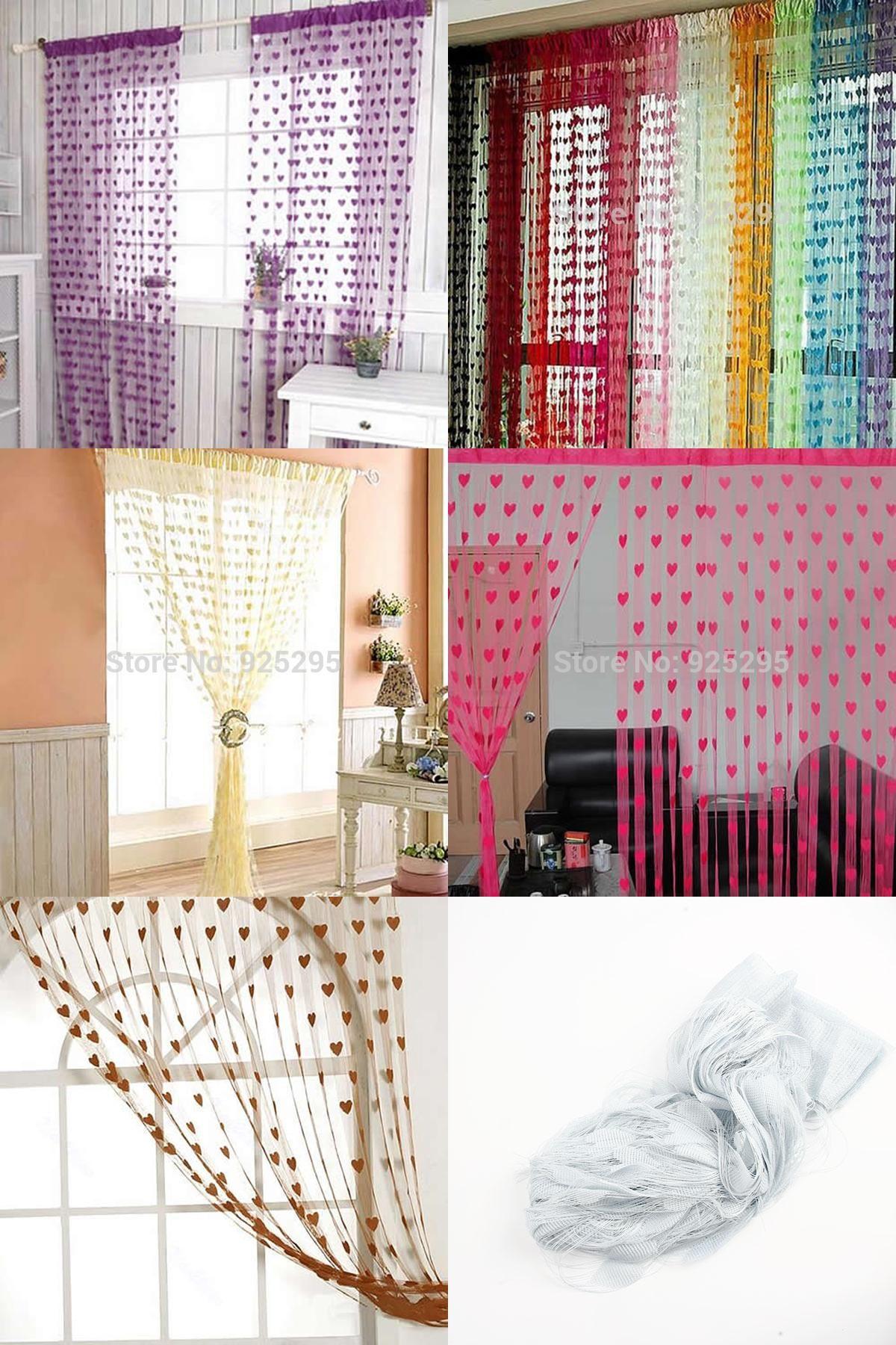 Visit to buy door curtains cute heart line pattern tassel string