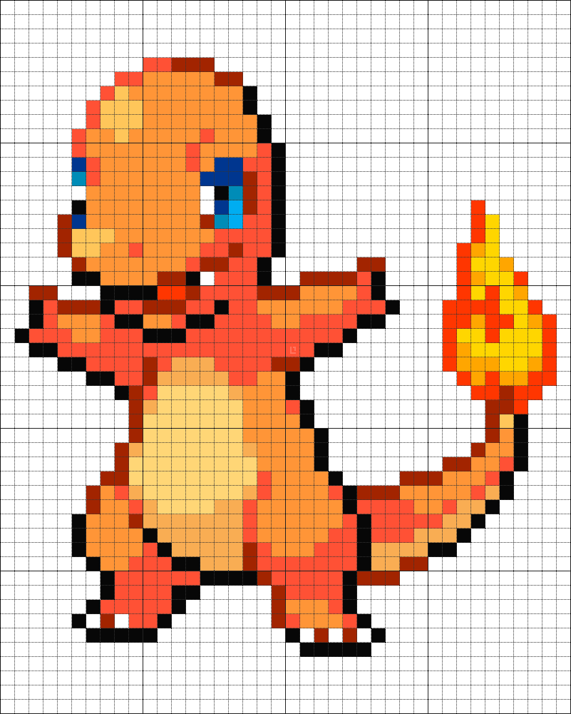 Charmander Pixel Art Template #4 Charmander   pokemo...