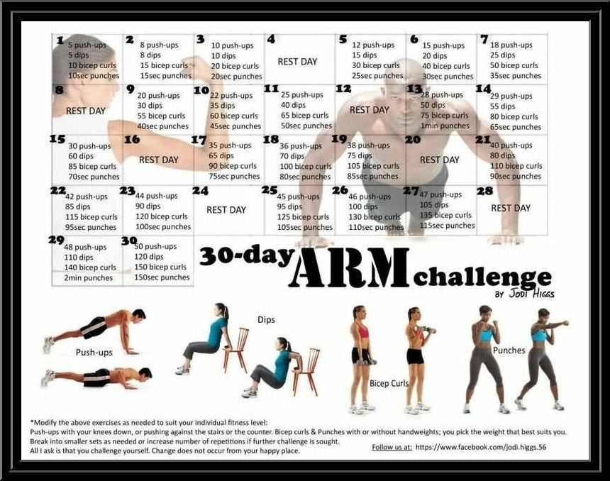30 day arm challenge upper body and core workouts pinterest