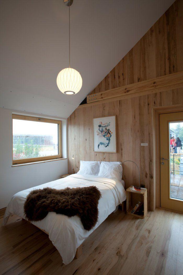 Luxus Hausrenovierung Dachschrage Im Schlafzimmer Bilder Fur Dein Inspirationen #21: 63 Wandpaneele Holz, Die Den Raum Ganz Individuell Erscheinen Lassen