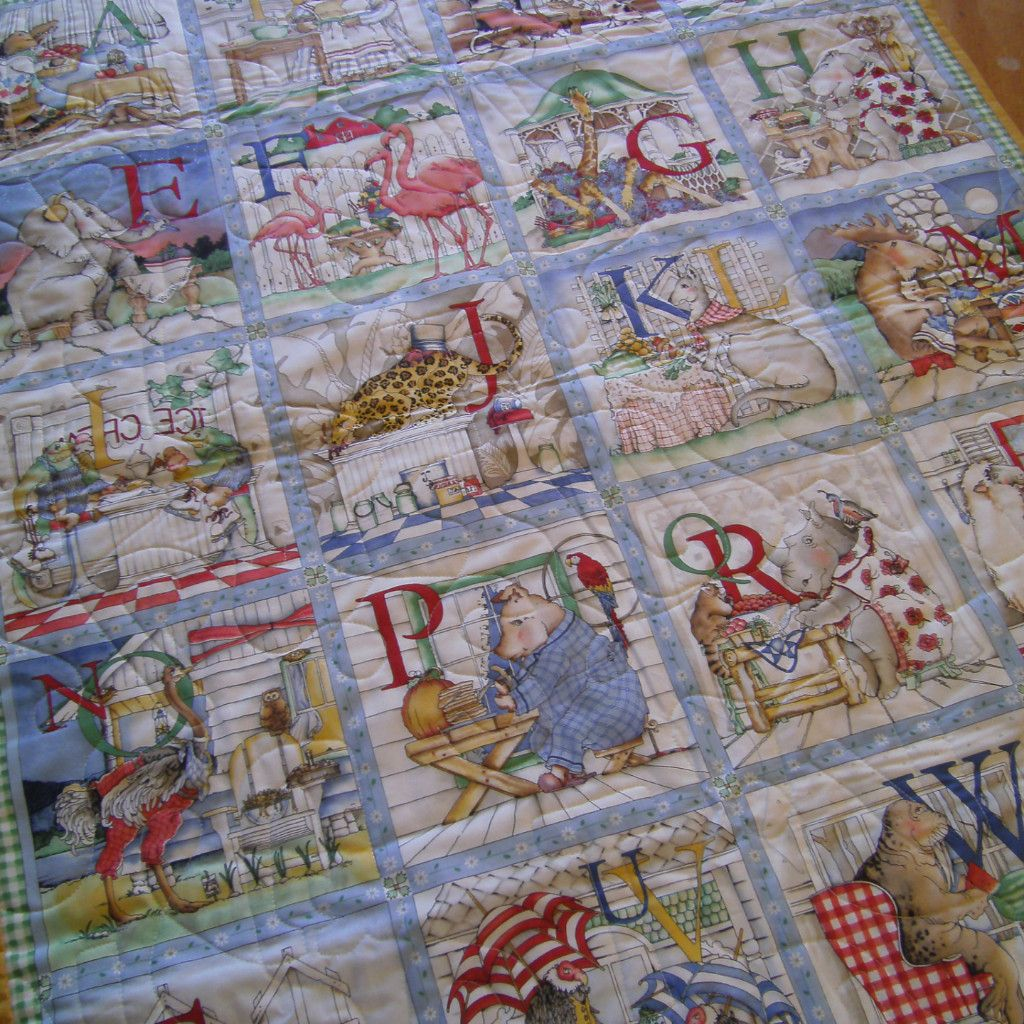 Panel Quilt Made With Hungry Animal Alphabet Fabric Products