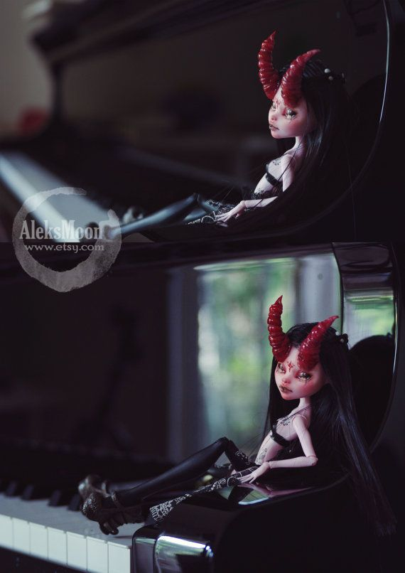 SOLD. DISPLAY ONLY. Monster high repaint Devil by AleksMoon