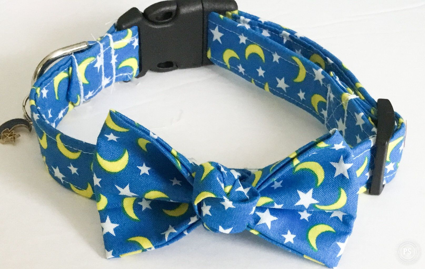 Blue Celestial Moon and Stars Collar with Matching Bow and