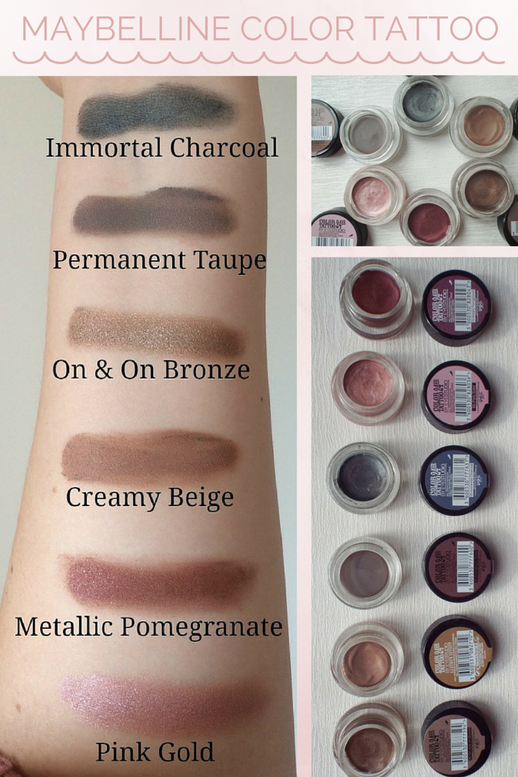Maybelline Color Tattoo Eyeshadow Review Swatches Color Tattoo Eyeshadow Maybelline Color Tattoo Tattoo Eyeshadow