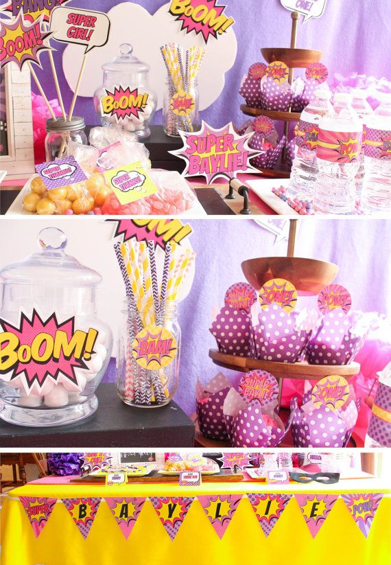 Girl Superhero Birthday Decorations Package Pink By CoralBalloon