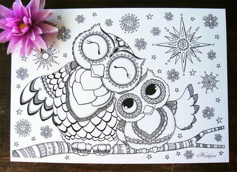 Hattifants Mama Baby Owl Coloring Pages