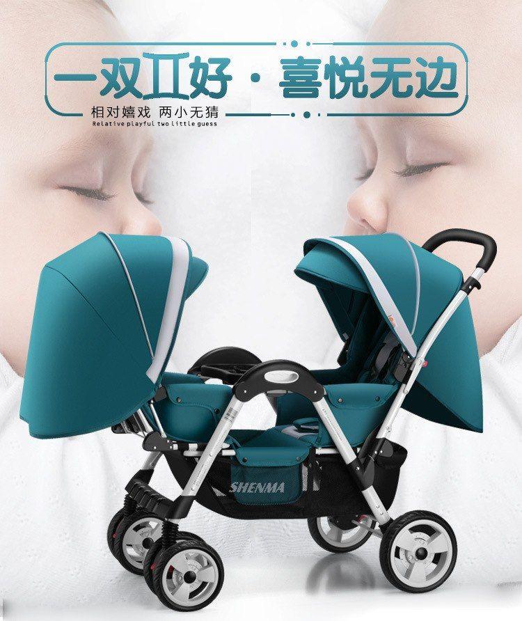 0526a453d Doble Cochecitos de bebé para recién nacido cochecito doble bebé puede  sentarse reclinable cara a cara de niño carro doble cochecito bebé