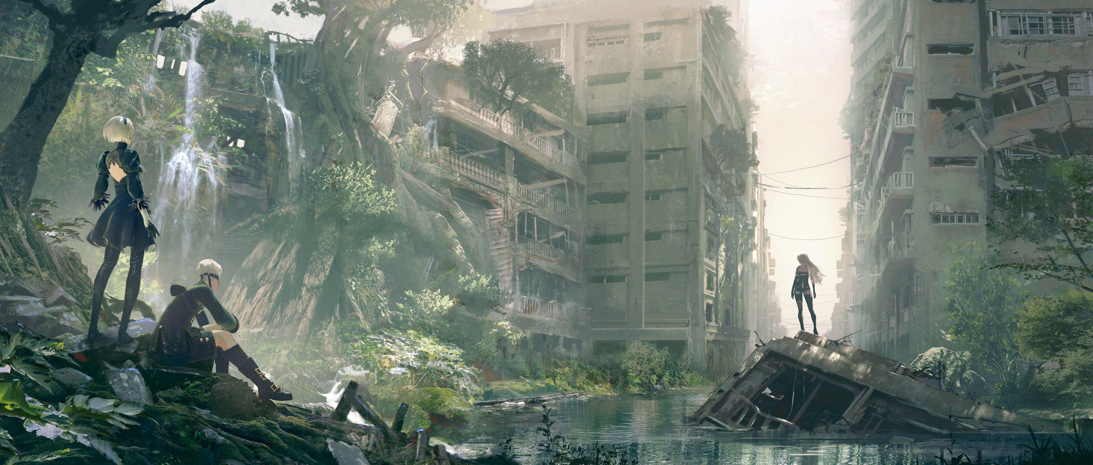 Nier Automata 2b 9s A2 Anime Video Games Ruin Cityscape Apocalyptic 2k Wallpaper Hdwallpaper Desktop In 2020 Nier Automata Automata Cityscape Wallpaper