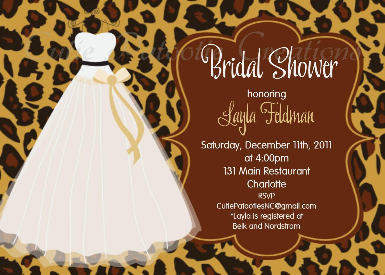 Leopard print bridal shower invitation wedding dress bridal shower leopard print bridal shower invitation filmwisefo Image collections
