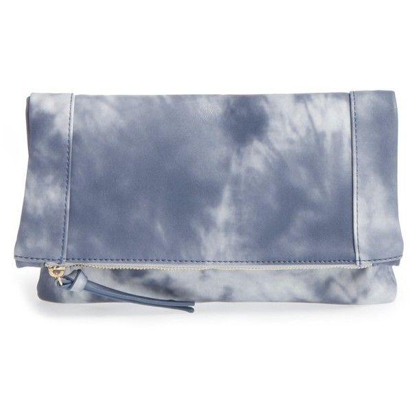 acf38d99e15b Sole Society 'Marlena' Faux Leather Foldover Clutch ($45) ❤ liked on  Polyvore featuring bags, handbags, clutches, indigo, blue purse, faux  leather handbags ...