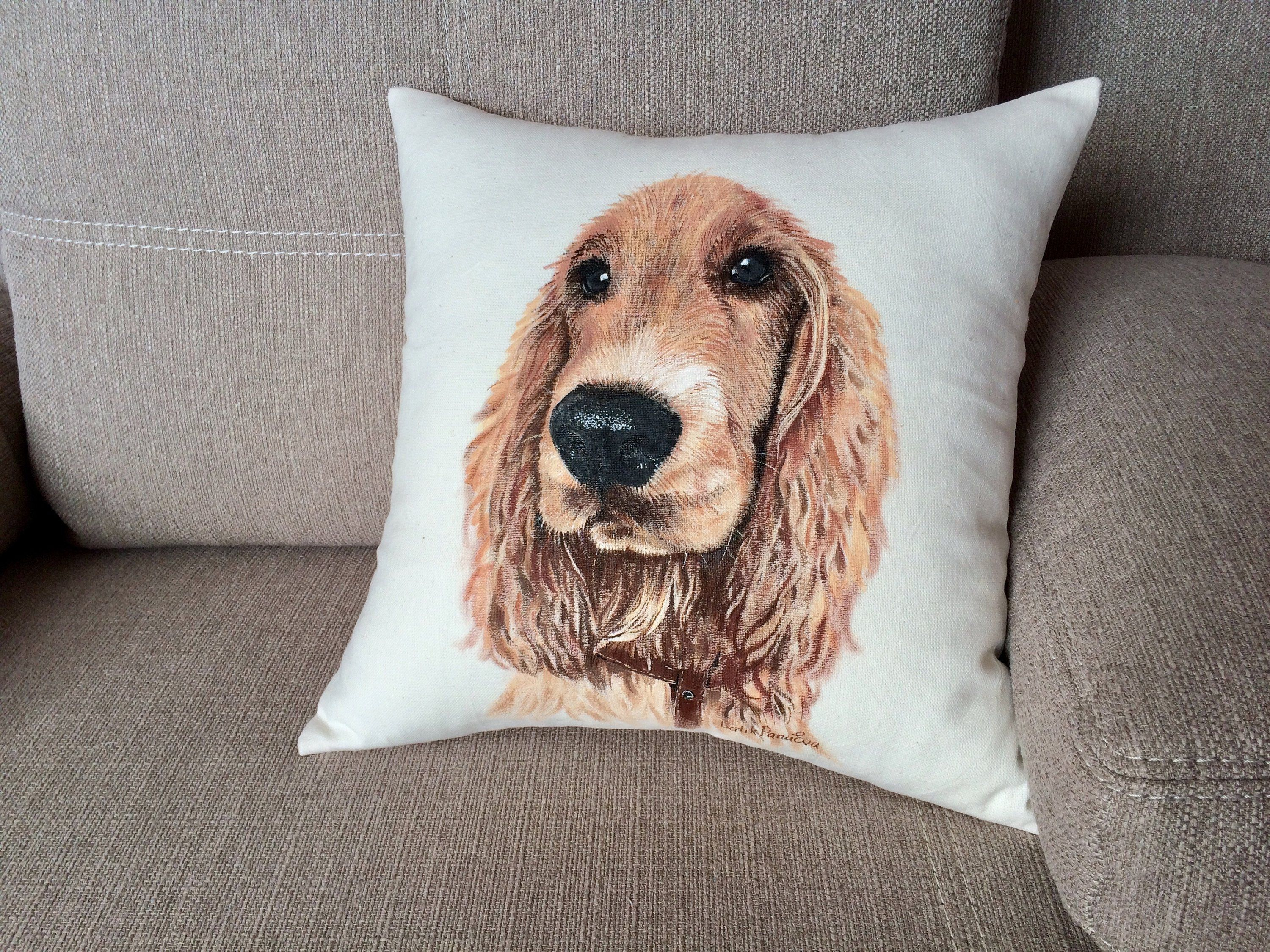 Custom dog pillow from photo with realistic pet portrait