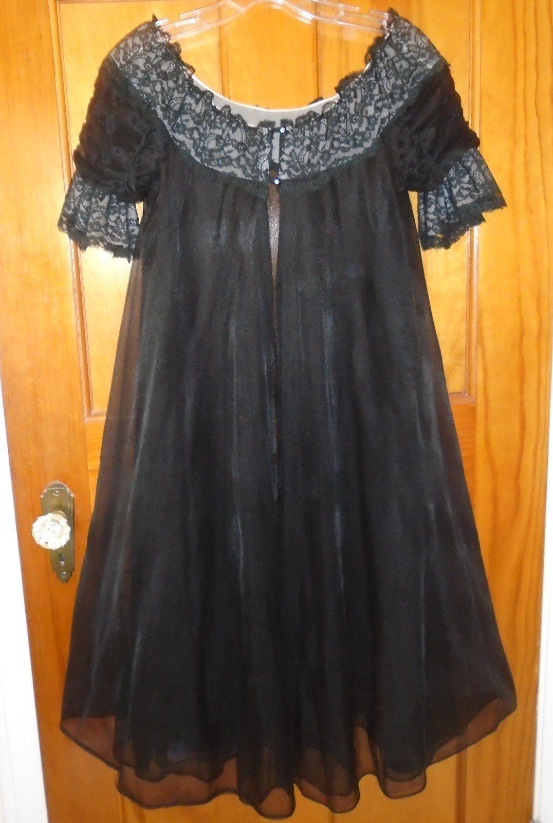 Vintage 50s Black Nylon Chiffon Lace Peignoir Nightgown