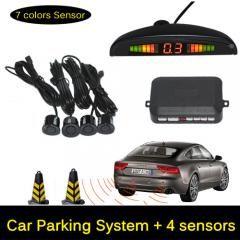 4 Sensors Black Car Parking Reverse Backup Radar System Backlight LED Display