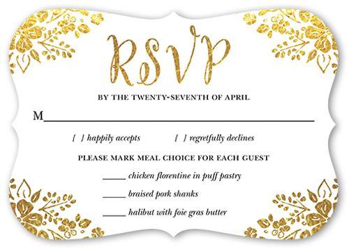 Fabulous Floral Wedding Response Card, Bracket Corners, Dynamiccolor