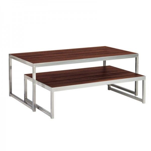 Coffee Table Silver Legs: Wooden Top Nesting Cocktail Tables With Silver Legs. CPR